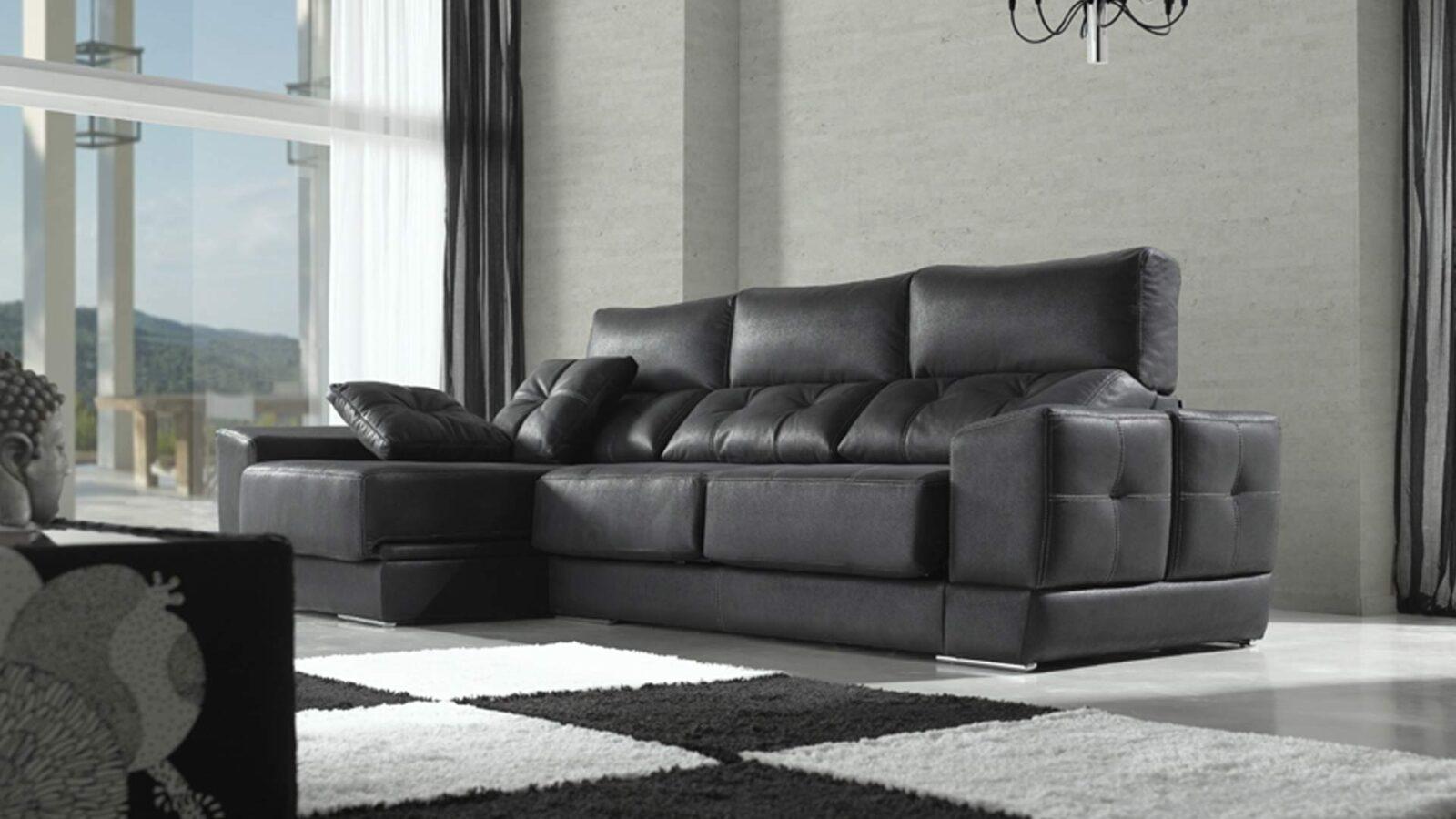 Sofá masconfort especial con posibilidad de chaiselongue en color negro